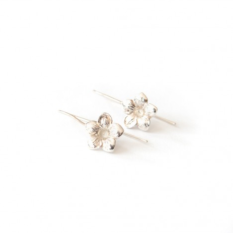 Open Flower Earrings – Silver