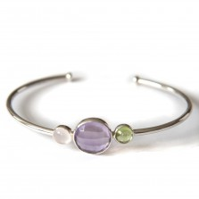 Tricolour bangle 2 &#8211; Silver