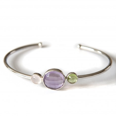 Tricolour bangle 2 – Silver