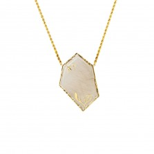 Rutilated Quartz and 18ct Gold Pendant