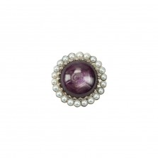 Star Ruby, Seed Pearl and 18ct White Gold Brooch