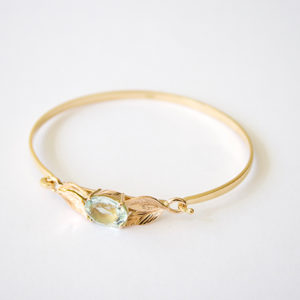 Aquamarine-Leaf-Bangle-Gold