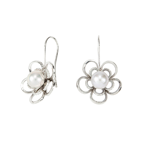 Pearl-and-Diamond-Flower-Earrings