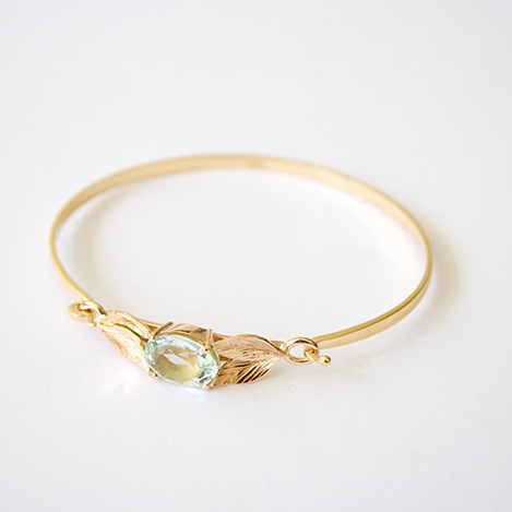 Aquamarine-Leaf-Bangle-Gold