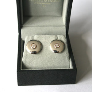 Diamond-Disk-Earrings-Silver-and-Gold