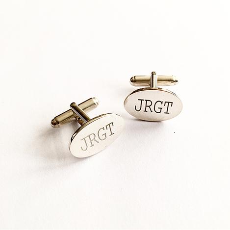 Oval-Initial-Cufflinks-Silver