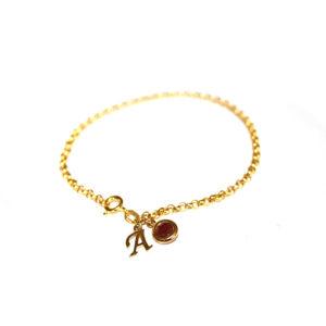 Ruby-Letter-bracelet-Gold